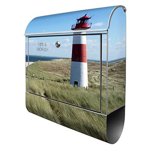 Banjado Design Briefkasten personalisiert mit Motiv Leuchtturm | Stahl pulverbeschichtet mit Zeitungsrolle | Größe 39x47x14cm, 2 Schlüssel, A4 Einwurf, inkl. Montagematerial