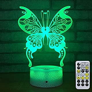 3DNight Light Lamp-Butterfly Night Colors Light Remote Control USB Powered-Night Lights Gifts for Girls Butterfly Lamp Decor for Girls Bedroom/Night Lights for Kids/(Butterfly