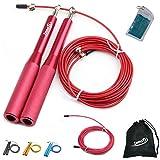 InnoTi Comba de Crossfit para Hombre y Mujer - Cuerda de Saltar de Alta Velocidad para Boxeo y Fitness - Comba de Alumino Ligera Saltos Dobles - Ajustable y con Cable Extra de Repuesto (Roja)