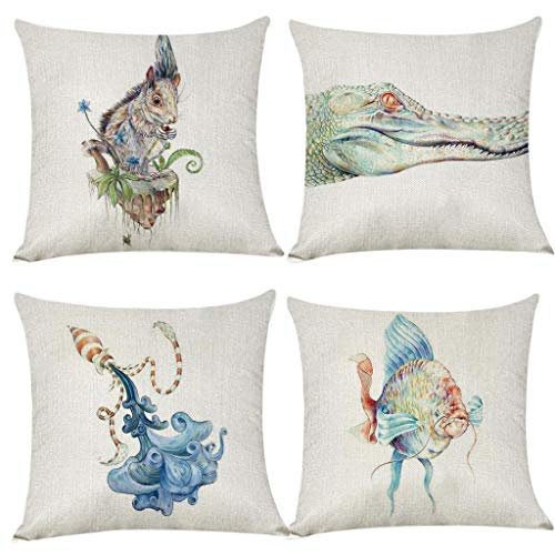 jieGorge 4pcs Watercolor Animal World Linen Pillow Pillowcase In Decorative Bedding 45X45 , Decors for Home Christmas New Year (Multicolor)