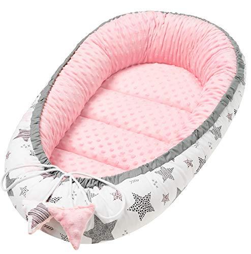 Solvera_Ltd Babynest 2seitig Kokon MINKY+100% Baumwolle Babybett Nestchen für Neugeborene Kuschelnest Weiches und sicheres Baby-Reisebett (50x90) (Minky Rosa)