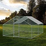 MINIKID Large Chicken/Rabbit/Pet Coop Walk-in Metal Hen Cage, 118 x 157 x 78.7 inch Outdoor Garden Backyard Hen House Small Animal Cage Poultry Hutch with UV & Water-Resistant Cover【US (Silver)
