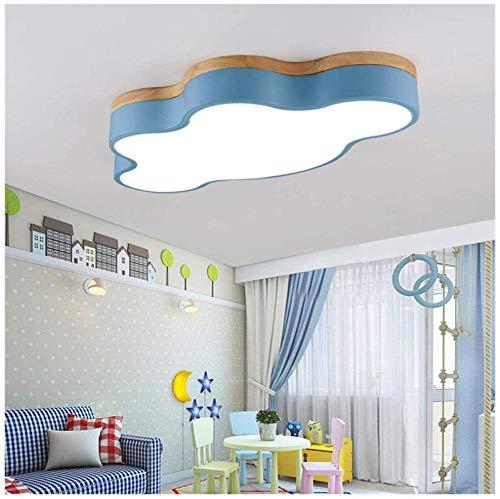 Lámpara de techo de estudio para niños, lámpara de techo para dormitorio, lámpara de nube con fondo de madera maciza, centro educativo de jardín de infantes