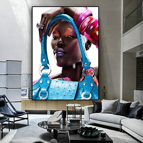 wZUN Pintura al óleo de Mujer Negra afroamericana de Moda sobre Lienzo, Carteles e Impresiones, Imagen de Pared de Arte Pop de la Sala de Estar 60x80 Sin Marco