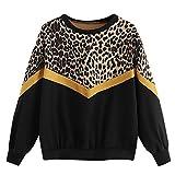 Sudaderas Mujer Tumblr,Fossen Otoño e Invierno Adolescentes Chicas Sudaderas de Manga Larga Camiseta Blusa en Eferta y Original (Estampado de Leopardo~Negro, Medium)