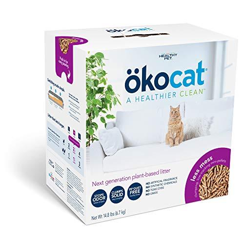 ökocat Less Mess Natural Wood Clumping Cat Litter Mini-Pellets, Great for Long-Hair Breeds, Medium, 14.8 lbs.