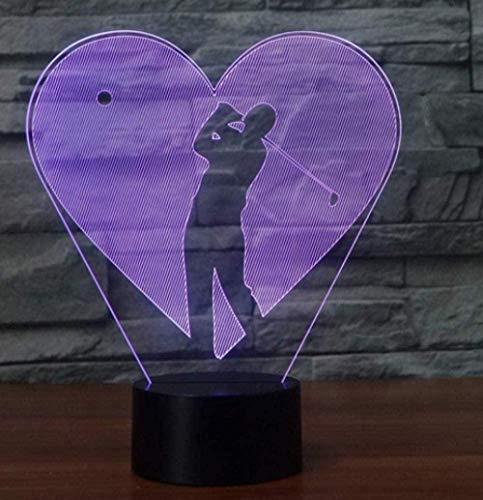 Baby Spielzeug 3D visual creativo 16 color cambiante luz de la noche jugar golf corazón formas LED USB USB lámpara de escritorio amor decoración del hogar dormitorio deportes niños regalos
