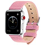 Fullmosa Compatible Apple Watch Band 44mm 42mm 40mm 38mm, 8 Colors Canvas Style for iWatch Strap Compatible with Apple Watch Series 4/5/6/SE (44mm) Series 3/2/1 (42mm),44mm 42mm Sakura Pink
