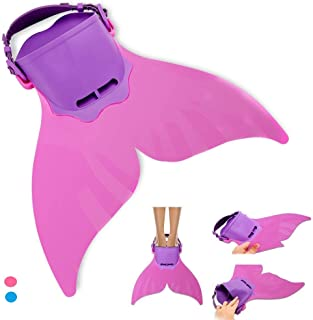 AIWANK Adjustable Mermaid Fin Flippers for Swimming Training Girl,Boys,Kids Monofin