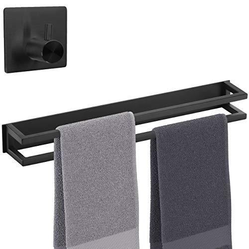smartpeas Doppel Handtuchhalter ohne Bohren – Selbstklebende Doppelte Handtuchstange schwarz +Plus: Haken