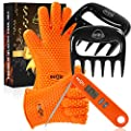 eeQiu Grilling Accessories 3 in 1 Gift Package Included Barbecue Gloves, Meat Claws and BBQ Folding Thermometer Grill Tools Kit, for Husband, Father, Family, Christmas.