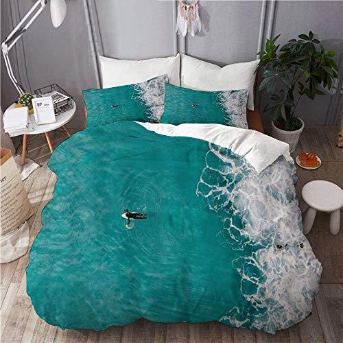 Funda nórdica Surf Deportes acuáticos Surfer Hawaii Tropical Ocean Wave Teal White Coast Seascape 100% microfibra lavada Juego de cama de 3 piezas con 2 fundas de almohada para la decoración del dormi