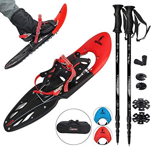 ALPIDEX Schneeschuhe 29 INCH Schuhgröße 38-46 bis 140 kg Steighilfe Tragetasche Optional Stöcke, Farbe:Red mit Stöcken