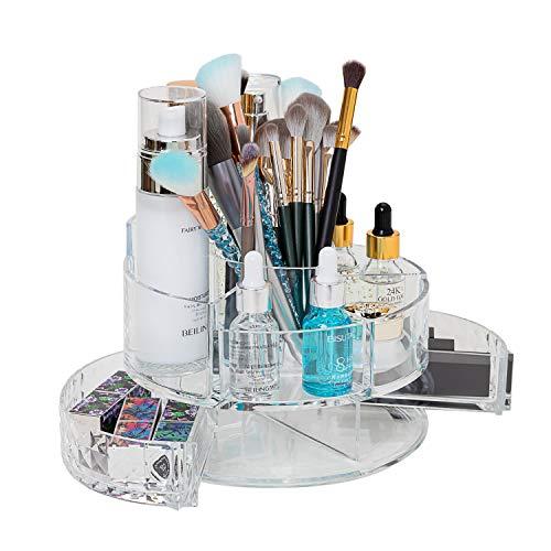 lureme Makeup Organizer Adjustable Multi-Function Cosmetic Storage Box, Large Capacity, Fits Toner, Creams, Makeup Brushes, Lipsticks and More (cb000016)