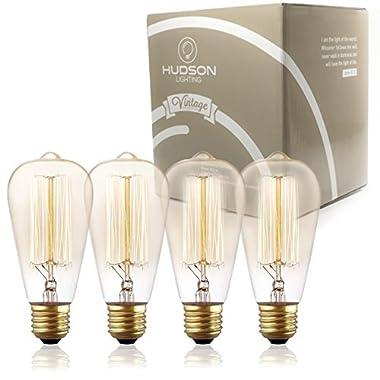 Antique Vintage Edison Bulb ST64 - Hudson Lighting 60 watt Vintage Light Bulb - ST64 - Squirrel Cage Filament - 230 Lumens - Dimmable - E26 Bulb Base – Edison Light Bulbs - Amber Warm Glow
