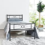 Bed Frame Twin Size, Yanni LESILE Easy Set-up Premium Metal Platform Mattress Foundation/Box Spring Replacement with Headboard and Footboard, Under-Bed Storage, Enhanced Sturdy Slats(Black)