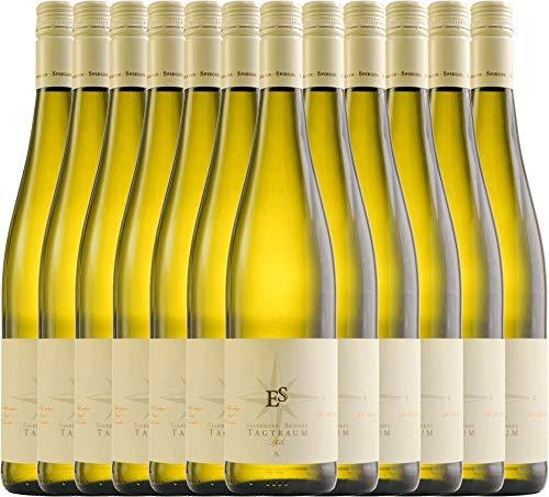 VINELLO 12er Weinpaket Weißwein - Tagtraum 2019 - Ellermann-Spiegel mit Weinausgießer | halbtrockener Weißwein | deutscher Sommerwein aus der Pfalz | 12 x 0,75 Liter