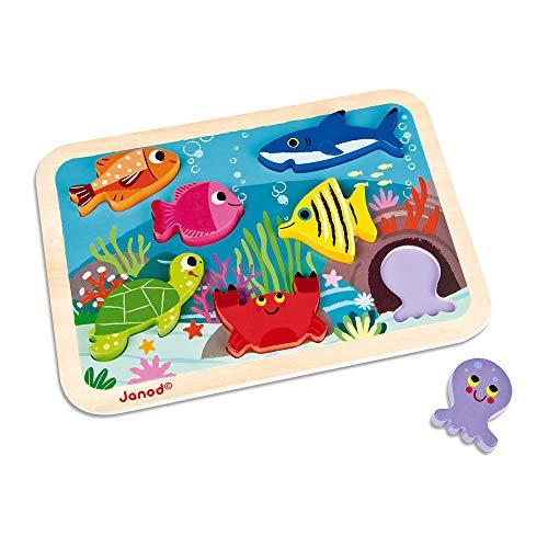 Janod- Chunky Chunque puzzle submarino (j07056), Multicolor (8507056)