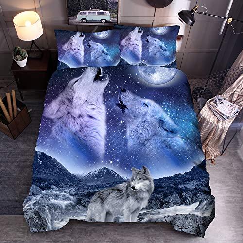 Juego de funda de edredón para cama de 90 cm, diseño de lobo