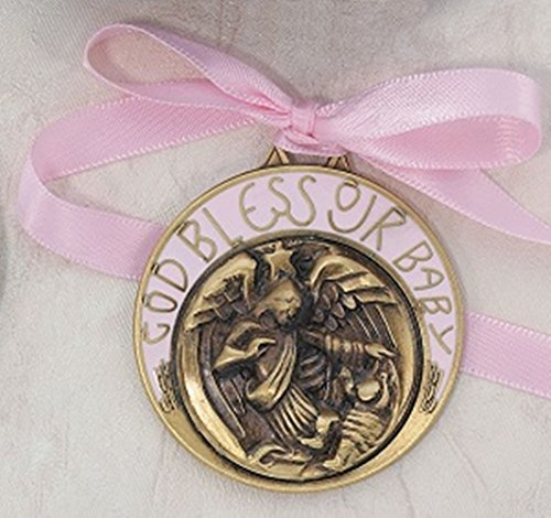 Bronze Toned Pink Crib Medal Baptism Gifts for Baby Girls, 2 inch