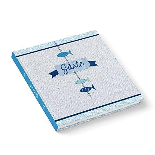 Fische Gästebuch Hochzeitsgästebuch blau weiß türkis maritim navy 21 x 21 cm für Taufe...