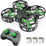 SNAPTAIN H823H Mini Drone Enfant, Drone Jouet, 21 Mins Autonomie, 3 Batteries, Hélicoptère Télécommande, Mode sans Tête, 360°Flips, Maintien d'Altitude, Facile à Jouer pour Enfants et Débutants, Vert