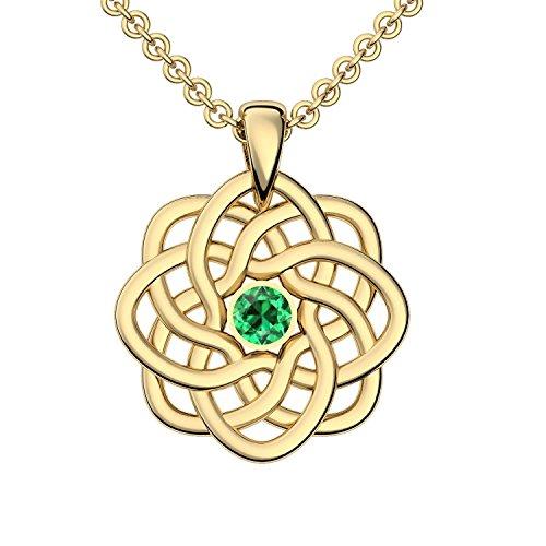 Kette Blume Anhänger Gold Kette Smaragd 585 + inkl. Luxusetui + Smaragd Kette Gold Smaragdkette Anhänger Gold Halskette (Gelbgold 585) - Crossing Amoonic Schmuck Länge UW04 GG585SMFA45