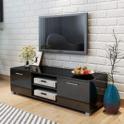 UnfadeMemory TV Schrank Fernsehschrank MDF Hochglanz Schrank TV-Tisch mit 2 Regale, 2 Fächer mit Türen als Wohnzimmer Sideboard Viel Stauraum (Schwarz, 120 x 40,3 x 34,7 cm)