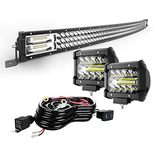 """TURBO SII 42"""" Curved LED Light Bar Triple Row 576W Flood Spot Combo Beam Led Bar W/ 2Pcs 4in 60W Off Road Driving Fog Lights with Wiring Harness-3 Leads for Trucks Polaris ATV Boats Lighting"""