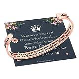 M MOOHAM Whenever You Feel Overwhelmed Remember Whose Best Friend Bracelet Straighten Your Crown Bracelet, Friendship Bracelet Friend Gifts Engraved Inspirational Quote Rose Gold Bracelet for Women