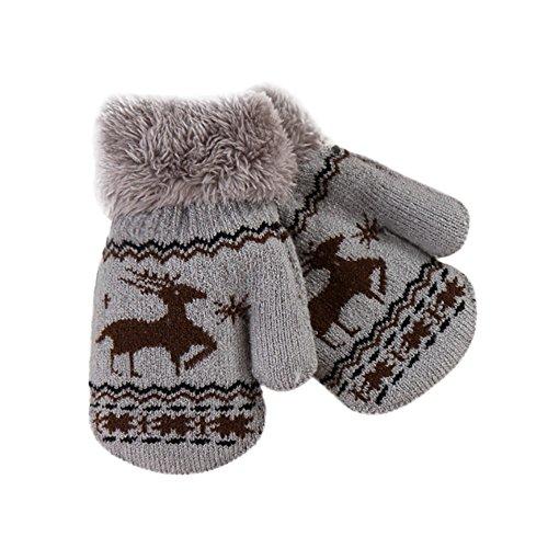 EROSPA EROSPA® Baby Kleinkinder Handschuhe - Warme Winter- Handschuhe Rentier - Grau