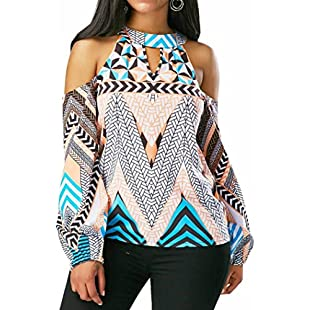 Customer reviews Wawer Women's Tops Vest, Women Off Shoulder Retro Geometry Blouse Bohemia Tops Blouse T-Shirt Great For Sports/Dance/Club/Party/Daily/Beach (XL, White)
