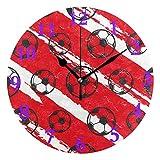 TropicalLife JNlover - Reloj de pared redondo con diseño de pelota de fútbol, moderno, simple, silencioso, funciona con pilas, fácil de leer, para decoración del hogar y la oficina