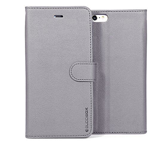 BUDDIBOX iPhone 6s Plus Case, [Wallet Case] Premium PU Leather Wallet Case with [Kickstand] Card Holder and ID Slot for Apple iPhone 6S / 6 Plus, (Grey)