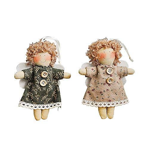 Daity Weihnachten Engel Anhänger, 2pcs Schutzengel Geschenkanhänger,Engel Puppen,Weihnachtsbaumschmuck Geschenk für Kinder