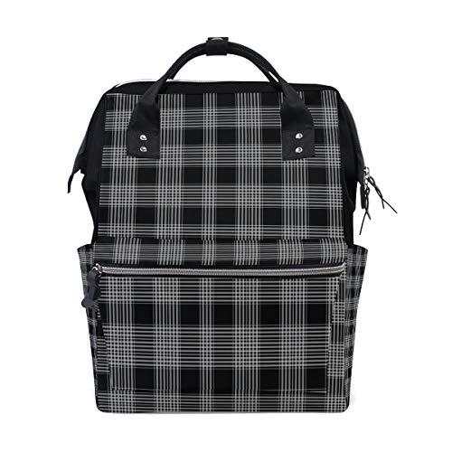 MALPLENA Daypack Mochila de Viaje con diseño de Cuadros, Color Blanco y Negro