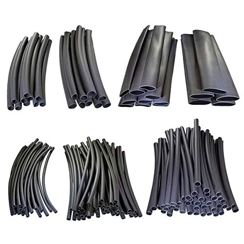 Katzco Heat Shrink Tubing Kit - 127 Piece Set of Black Assorted Wire Wrap Electrical Connection Cable Ð for Shrinking and Sealing Connectors - Tools and Home Improvement, Electrical, Cables