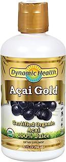 Dynamic Health Acai Gold | Organic Acai 100% Juice | Vegetarian, No Gluten or BPA, Dietary Supplement | 32oz, 32 Serv