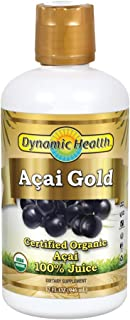 Dynamic Health Acai Gold | USDA Certified Organic Acai 100% Juice | Vegetarian, Gluten-Free, BPA-Free, Dietary Supplement | 32oz, 32 Serv