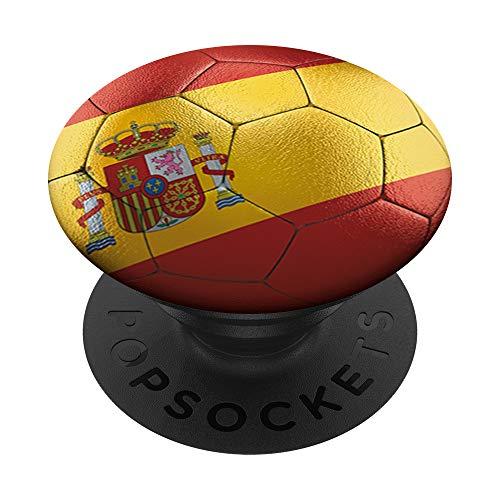 Balón de fútbol europeo con la bandera española PopSockets PopGrip: Agarre intercambiable para Teléfonos y Tabletas