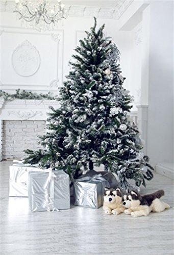 YongFoto 5x7ft Fotografie Achtergrond Kerstboom Geschenken Doos Honden Droplight Open haard Houten Plank Interieur Foto Achtergrond Fotografie Video Party Kids Persoonlijk Portret Photo Studio Props