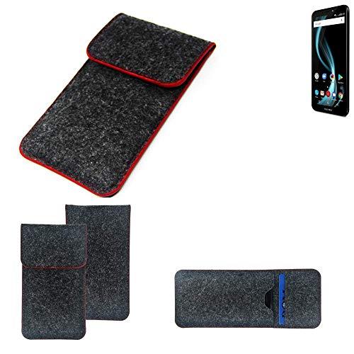 K-S-Trade Handy Schutz Hülle Für Allview X4 Soul Infinity S Schutzhülle Handyhülle Filztasche Pouch Tasche Hülle Sleeve Filzhülle Dunkelgrau Roter Rand