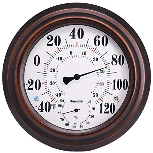 Jeromeki Indoor/Outdoor Thermometer Hygrometer for Room, Kitchen, Patio, Wall Metal Decorative No Battery Required Big Hanging Hygrometer Round Indoor/Outdoor Thermometer Hygrometer