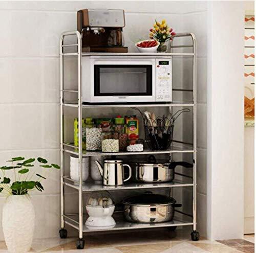 XYZX roestvrijstalen keuken vijf-rack magnetronbodem mobiel dienblad opslagrek duurzaam
