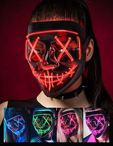 AnanBros Halloween Maske, LED Purge Maske im Dunkeln Leuchtend, Halloween Purge Maske 3 Beleuchtungsmodi für Kostümspiele Cosplays Feste und Partys - Rot