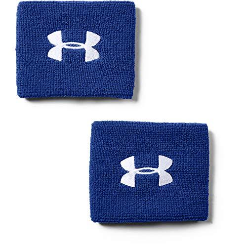 Under Armour Performance (7,5cm) 2er-Pack schweißableitendes Fitnessband, Flexibles Schweißband mit Logo, Blau, Einheitsgröße