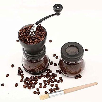 Cooko Molinillo de Café Manual, De Acero Inoxidable con Moledores Ajustable de Cerámica para Hogar, la Oficina o los Viajes con Tarro de Almacenamiento Adicional y un Cepillo de Limpieza