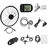 Schuck 36V 48V 500W 16''/20'/24'/26'/27.5'/28'/29'/700C Front Wheel Electric Bicycle Conversion Motor Kit E-Bike Cycling with Brushless Gear Hub Motor with LCD5 Display (36V 26 inch)