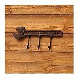 Perchero de Pared Retro pared colgante abrigo perchero labrado hierro colgador martillo llave decoración de pared súper carga cojinete gancho estilo industrial apto para dormitorio cocina Ganchos para