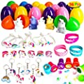 MONILON 72 Pcs Egg Toy Combo Gift Set for Kids, 36 Prefilled Easter Eggs with 6 unicorn toys, 6 rings, 6 keychains, 6 seal stamps, 6 bracelets and 6 wristbands for Easter Eggs Hunt, Party Flavor and Birthdays